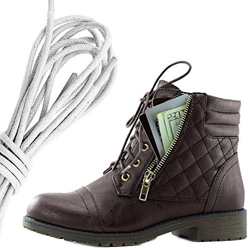 Botas De Combate De Bufanda Con Cordones Militar Para Mujer DailyZapatos Bolsillo De Tarjeta De Crédito Exclusivo De Tobillo Con Altas Botas, Marfil Marrón Pu