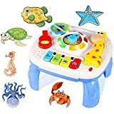 6 Bonus Puzzles + Portable Baby Toy Musical Learning Table Early Education Music Activity Center for...