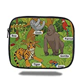Laptop Sleeve Case,Educational,Jungle Animals Colorful Funny Hand Drawn Style Zoo Nature Tropical Wildlife,Multicolor,iPad Bag