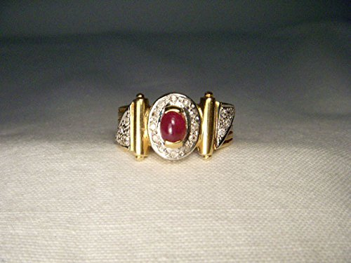 Cabochon 14k Yellow Gold Ring (Estate 14K Yellow Gold Diamond Cabochon Ruby Designer Ring Band)