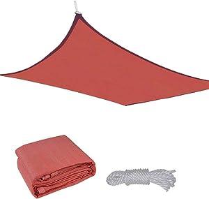 Yescom 18x18' Square Sun Shade Sail Patio Deck Beach Garden Outdoor Canopy Cover Uv Blocking (Dark Red)