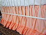 Bold Bedding Peach and Coral Papaya Double Ruffled Crib Skirt