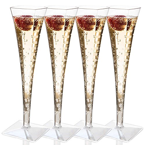 Premium Quality Plastic Champagne Flutes 5 oz 1 Piece Plastic Champagne Glasses, Cocktail Glasses, Square Champagne Flutes Great Wedding Toasting Flutes Champagne Flute Glasses Box of 12