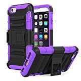 iPhone 6s Plus Case - MoKo Full Body Rugged Holster Case with Swivel Belt Clip - Dual Layer Shock Resistant Cover for Apple iPhone 6 Plus (2014) / 6s Plus (2015) 5.5 Inch Smartphone, PURPLE