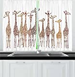 Lunarable Safari Kitchen Curtains, Tropical Giraffes Exotic Climates Wilderness Savannah Animals Artful Illustration, Window Drapes 2 Panel Set for Kitchen Cafe, 55 W X 39 L inches, Multicolor