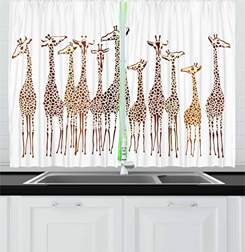 Lunarable Safari Kitchen Curtains, Tropical Giraffes Exotic Climates Wilderness Savannah Animals Artful Illustration, Window Drapes 2 Panel Set for Kitchen Cafe, 55 W X 39 L inches, Multicolor by Lunarable