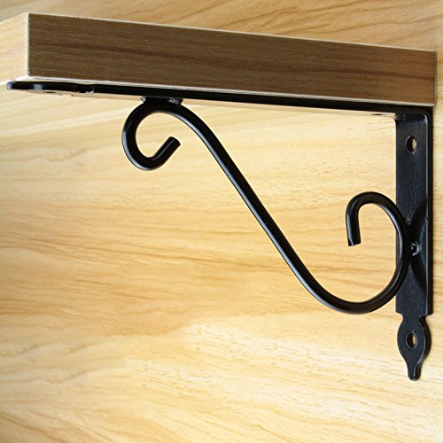AddGrace Pack of 2 Decorative Wall Shelf Brackets Support for Storage Display Mounted Floral Shelf Brackets (White) 6 Inch by AddGrace (Image #4)