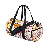 U LIFE Summer Spring Floral Flowers Hippie Music Sports Gym Shoulder Handy Duffel Bags for Women Men Kids Boys Girls