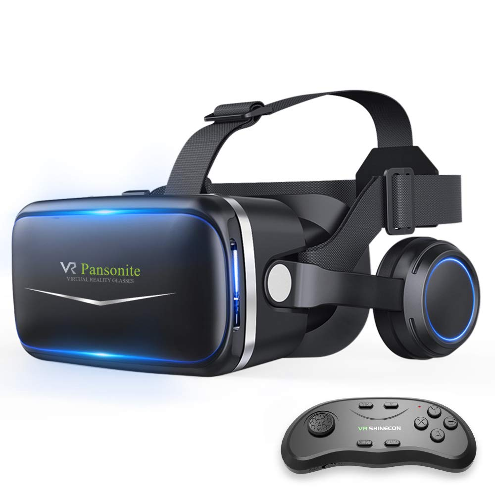 Pansonite Vr Headset with Remote Controller[New Version], 3D Glasses Virtual Reality Headset for VR Games & 3D Movies, Eye Care System for iPhone and Android Smartphones (01)