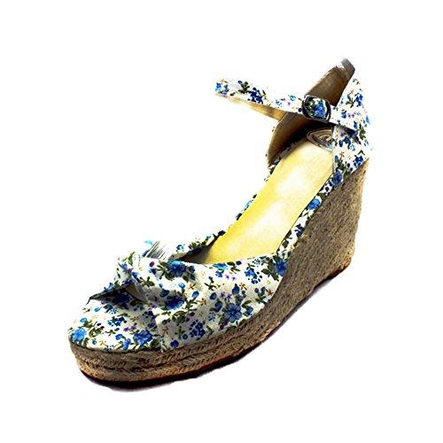 Damen-Leinwand-Keilabsatz Sandalen mit Peeptoe und Knöchelriemen Blue Floral