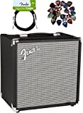 Fender Rumble 25 Bass Amplifier - Black and Silver Bundle with Instrument Cable, Pick Sampler, and Austin Bazaar Polishing Cloth