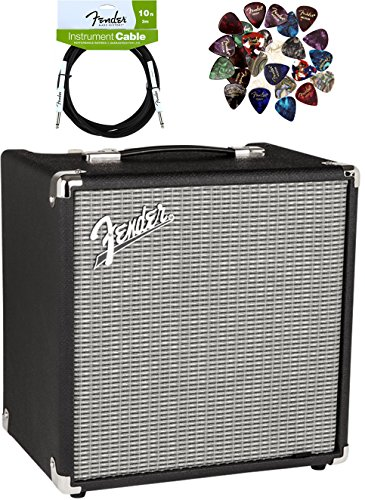 Fender Rumble 25 Bass Amplifier - Black and Silver Bundle with Instrument Cable, Pick Sampler, and Austin Bazaar Polishing Cloth by Fender