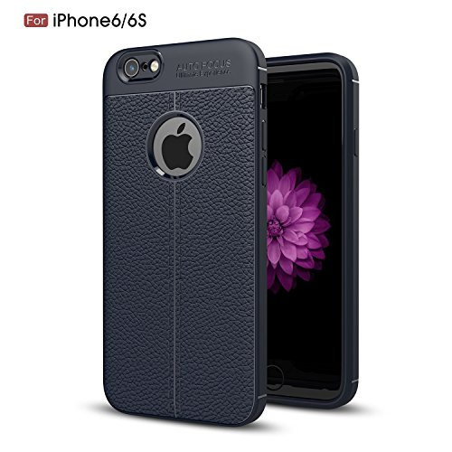 4' Turbo Back Kit (iPhone 6s Case, iPhone 6 Case, TOODAY [All New Design] [Anti-Scratch] Ultra Slim Soft Flexible Silicone Gel Rubber Back Cover with Hard PC Armor Shockproof Case for iPhone 6s / iPhone 6 (Navy))