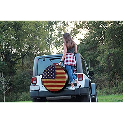 MSGUIDE Spare Wheel Tire Cover American Flag Wood Weatherproof Tire Protectors for Jeep Trailer RV SUV Truck and Many Vehicles (14