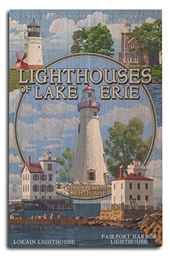 (Ohio - The Lighthouses of Lake Erie (10x15 Wood Wall Sign, Wall Decor Ready to Hang))