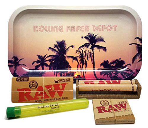 Bundle - 5 Items - RAW King Size Supreme, 110 Roller and Pre-rolled Tips with Rolling Paper Depot Rolling Tray (Retro Palms) and Kewl Tube