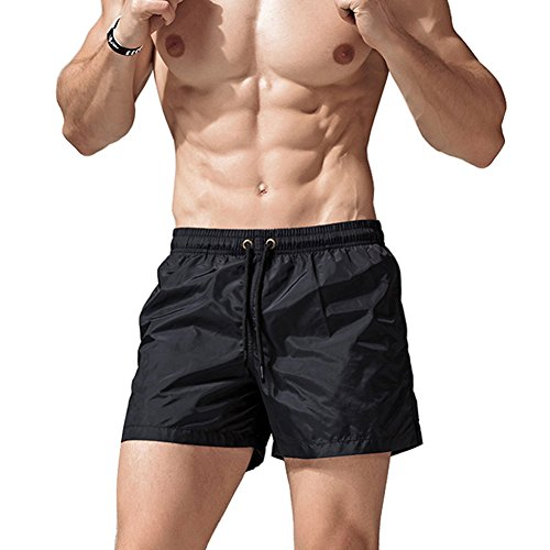 Dry Short Swim Trunks Beach Shorts Elastic Waist Short Swimming Trunks With Pockets For Swimming Running Beach Pool Black US M/Asia XL (Style Black Short)