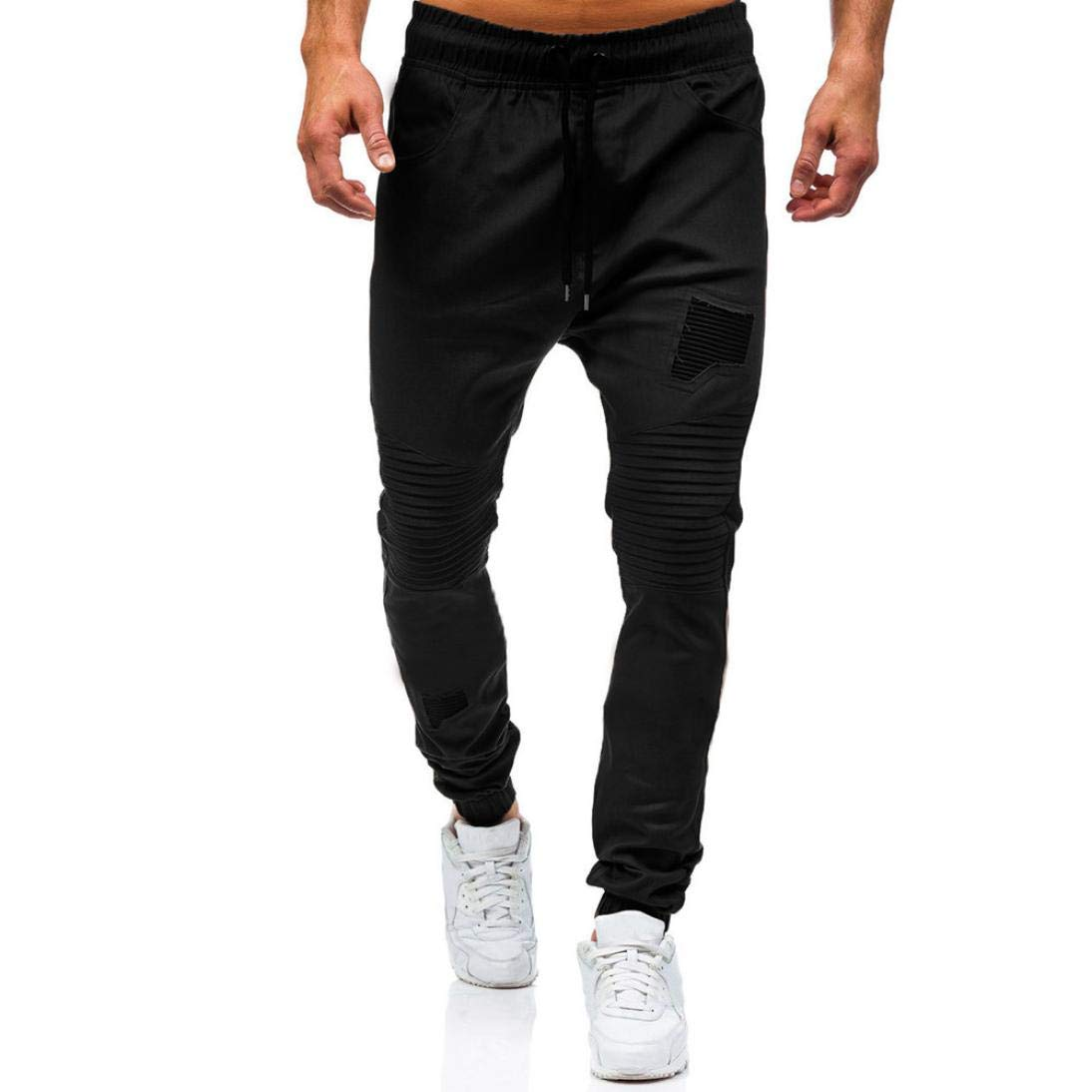 SCSAlgin Men's Drawstring Classic Joggers Pants Zipper Pockets Sport Sweat Basic Jogger Fleece Pants (Black, L)