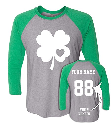 Custom Jerseys St Patrick's Day T Shirts - Saint Pattys Baseball Raglans Irish ()