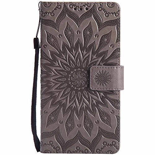(Huawei Ascend Mate 7 Case, Dfly Premium Soft PU Leather Embossed Mandala Design Kickstand Card Holder Slot Slim Flip Protective Wallet Cover for Huawei Ascend Mate 7, Grey)