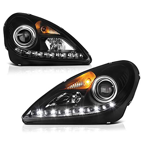 [For 2005-2011 Mercedes-Benz R171 SLK-Class D2S Xenon HID Model] LED Strip Black Housing Projector Headlight Headlamp Assembly, Driver & Passenger Side