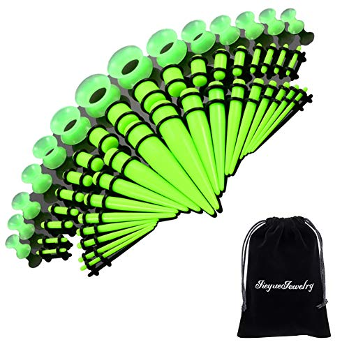 (50 Pieces Ear Stretching Kit 14G-00G by Jiquan - Acrylic Tapers and Plugs + Silicone Tunnels - Ear Gauges Expander Set Body Piercing Jewelry (Fluorescent Green) )