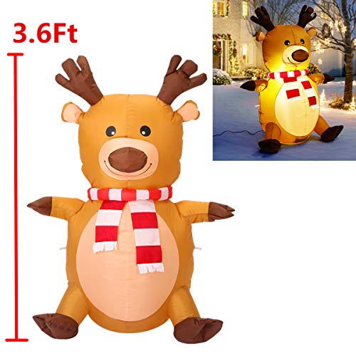 3.6 feet Inflatable Reindeer with Scarf Perfect for Blow Up Yard Decoration,Indoor Outdoor Yard Garden Xmas Decoration and Holiday Party Favor Decoration ()