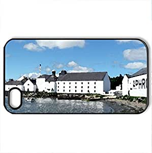 Scotland - Laphroaig Distillery - Case Cover for iPhone 4 and 4s (Watercolor style, Black)