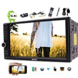 Latest Android 6.0 Car Stereo with GPS Double Din Navigation 7 Inch Capacitive Touch Screen Vehicle Radio Head Unit Support Dual Camera 1080P Video No-DVD WiFi OBD2 + Wireless Backup Camera