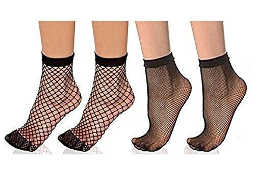 Maiyo 4 Pairs Women Lace High Ankle Fishnet Socks