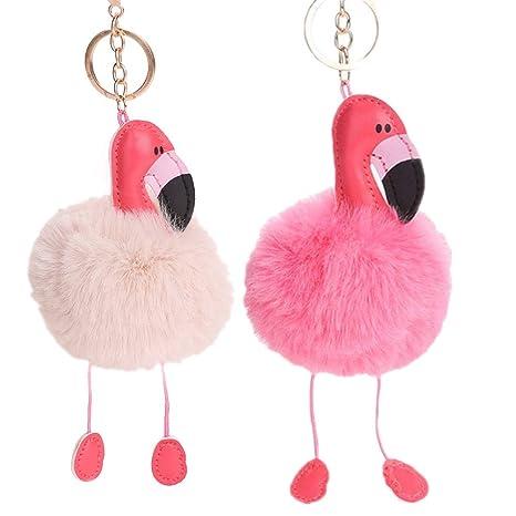 Llavero Flamenco Rosa,MMTX Mullido Lindo Llavero de Flamingo, Llavero de Pom Pom, Fluffy Keyring Girls, Regalo de decoración de Carteras (Blanco y ...