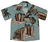 RJC Boys Surfboard Beach Shack Rayon Shirt Denim 6