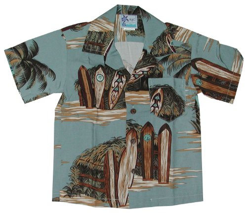 RJC Boys Surfboard Beach Shack Rayon Shirt Denim 6 by RJC