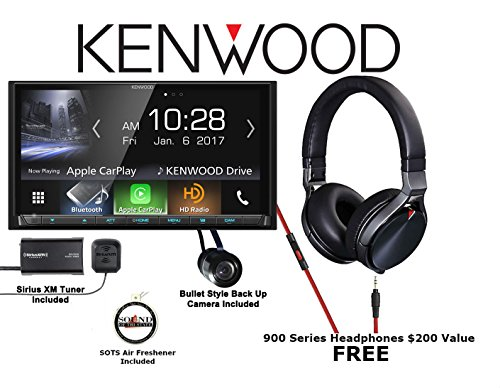"Kenwood 6.95"" Digital Media Navigation Receiver with Bullet Style Backup Camera, SiriusXM Tuner, Antenna, and Kenwood 900 Series On Ear Headphones with a FREE SOTS Air Freshener"