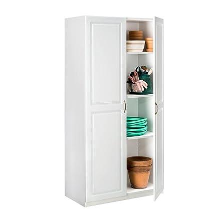 Laminated 2-Door Raised Panel Storage Cabinet in White with  sc 1 st  Amazon.com & Amazon.com : ClosetMaid 36 in. Laminated 2-Door Raised Panel Storage ...