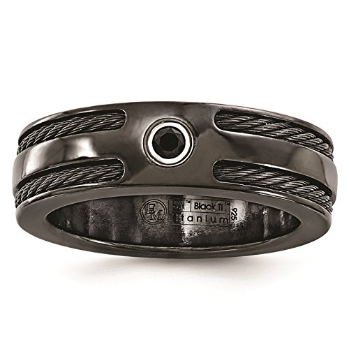 Titanium Black Ti Cable & Black Spinel w/Silver Bezel 7mm Wedding Band Size 8.5 by Edward Mirell by Venture Edward Mirell Titanium Bands