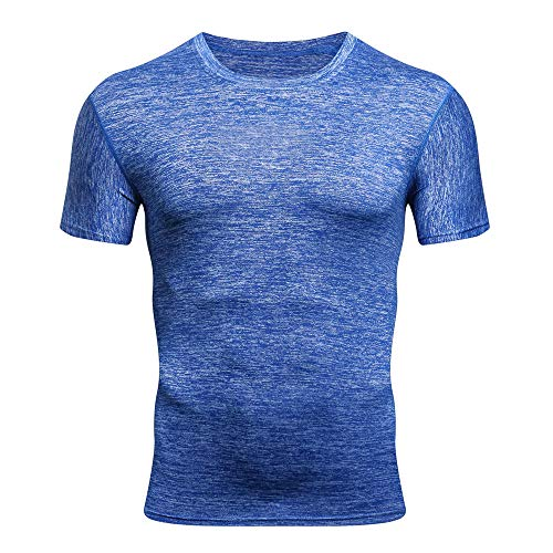IAN Short Sleeve Shirts Bodybuilding Skin Tunic Blouses Vest Tank Tops Blue ()