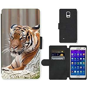 Super Stella Cell Phone Card Slot PU Leather Wallet Case // M00105014 Carnivore Feline Wildlife Tiger // Samsung Galaxy Note 4 IV