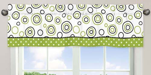 Spirodot Lime and Black Window Valance