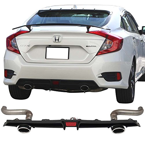 Axle Back Exhaust Pipes & Rear Diffuser With LED 3rd Brake Light Fits 2016-2018 Honda Civic | Unpainted Polypropylene (PP) Splitter Bumper Lip Bodykit by IKON MOTORSPORTS | 2017 ()