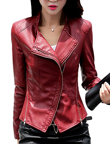 - Tanming Women's Short Slim Slant Zip Faux Leather Moto Jacket Multiple Colors (XX-Large, Jujube red)
