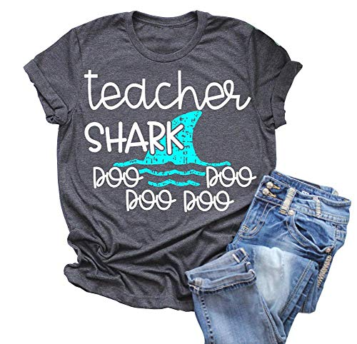 Women Teacher Shark doo doo Short T-Shirt Casual Print Graphics Top Tees (X-Large) Gray