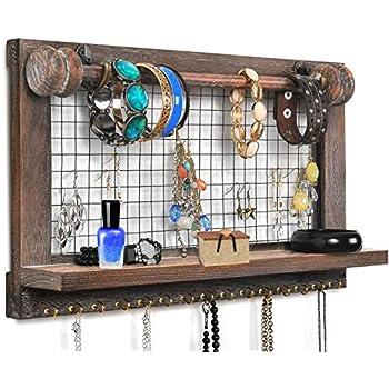 Amazon Com Viefin Rustic Wall Mounted Mesh Jewelry Organizer Wood