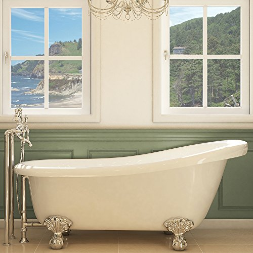 (Luxury 67 inch Clawfoot Tub with Vintage Slipper Tub Design in White, includes Polished Chrome Ball and Claw Feet and Drain, from The Glendale Collection)