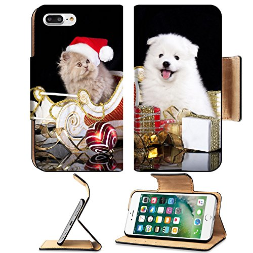 [MSD Premium Apple iPhone 7 Plus Flip Pu Leather Wallet Case iPhone7 Plus White dog spitz and kiten Persian wearing a santa hat cat and dog] (Cute Group Costumes)