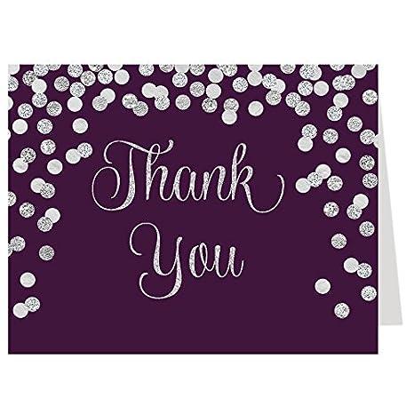 Amazon Com Thank You Cards Confetti Plum Silver Bridal Shower