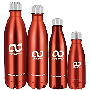 Alpha Armur 12 Oz (350ml) Insulated Water Bottle Double Wall Vacuum Insulated Stainless Steel Water Bottle with Narrow Mouth Kids Water Bottle Flask Thermos bicycle hiking Water Bottle, Red
