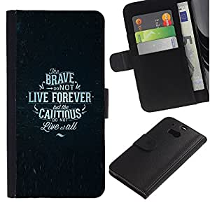 KingStore / Leather Etui en cuir / HTC One M8 / Brave prudent Affiche texte
