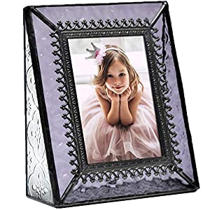 J Devlin Pic 376-2535 Vintage Purple Glass Picture Frame Tabletop Photo Frame School Photos 2 1/2 x 3 1/2 Keepsake Gift