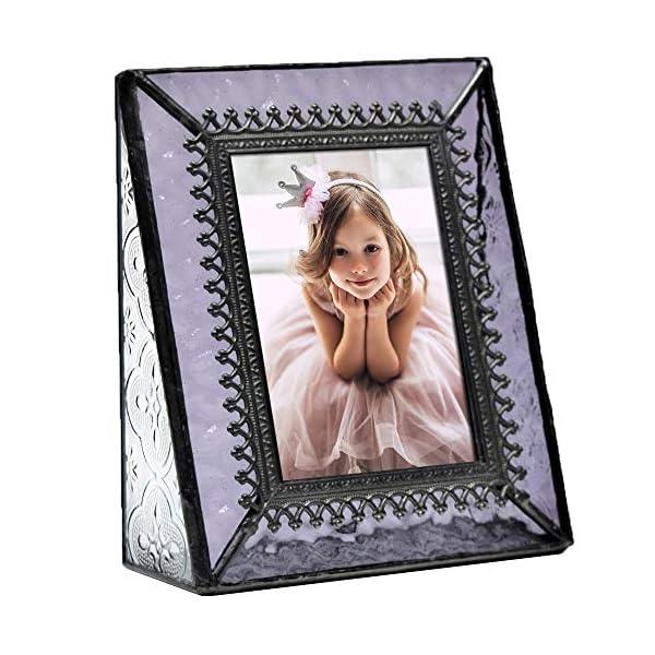 J Devlin Pic 376-2535 Vintage Purple Glass Picture Frame Tabletop Photo Frame School Photos 2 1/2 x 3 1/2 Keepsake Gift